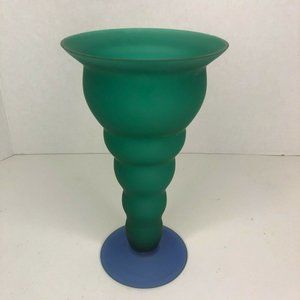 Green Teal Purple Glass Footed Vase